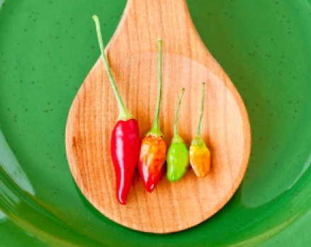 hot peppers in wooden spoon