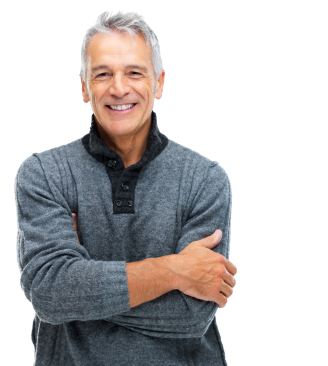 Portrait of smiling senior man with hands folded isolated on white background